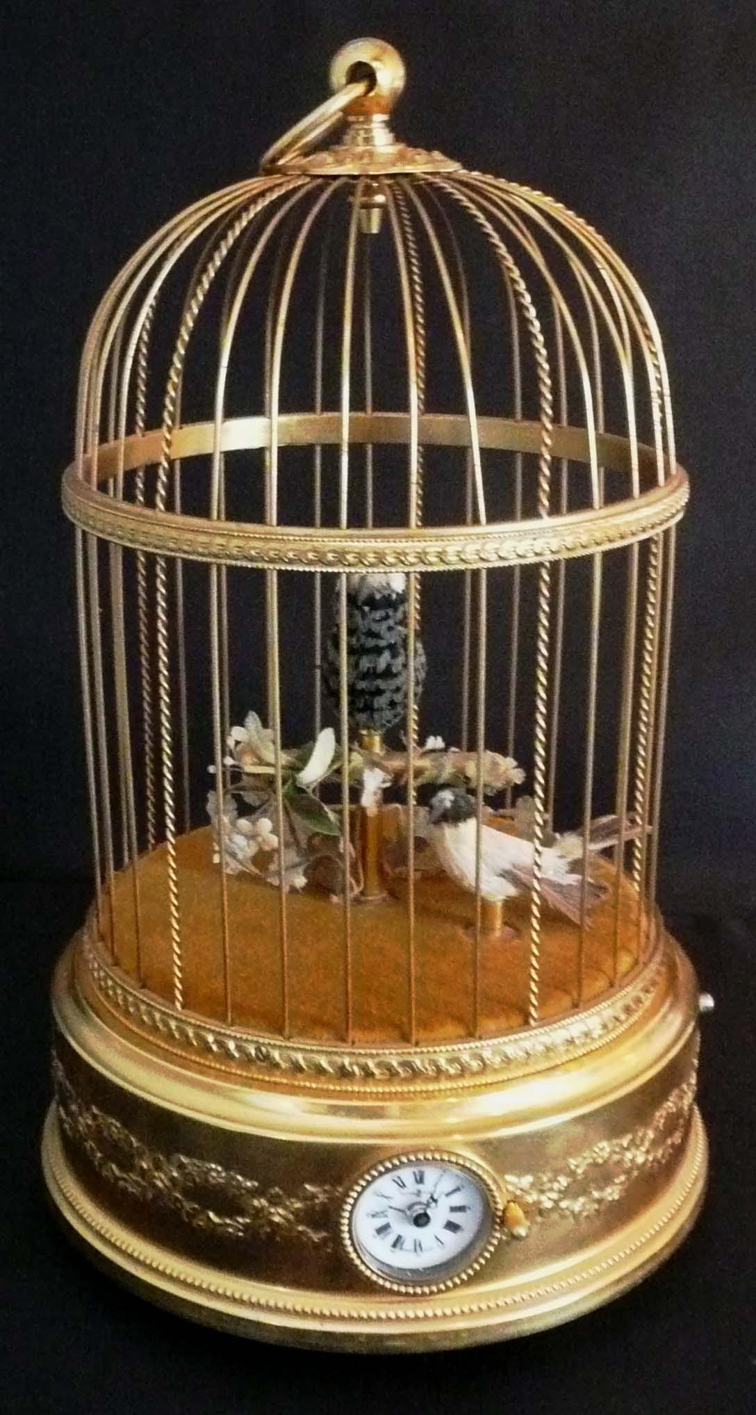 Cage avec oiseau chanteur - 20ème siècle